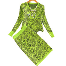 Winter European Good Quality Fashion Leopard Pattern Knit Blouse Pullovers Tops With Skirt Suits Two piece Sets Green Beige(China (Mainland))