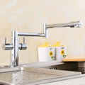 Polished Chrome Faucet Brass Folding Basin Hot and Cold Water Tap for Bathroom Kitchen 360 Degrees