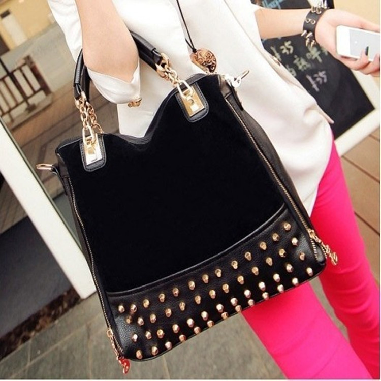 Luxury Rivet 2015 Women vintage suede leather designer famous brand handbags female casual tote bag bolso mujer sac femme 45(China (Mainland))