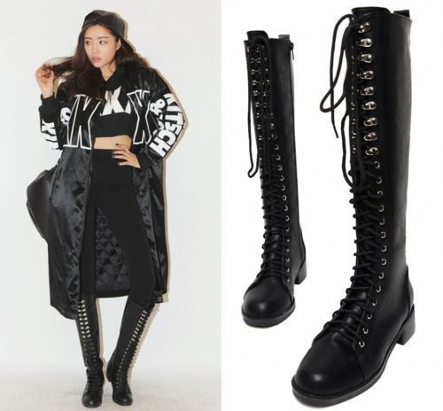 womens knee high lace up fashion military combat boots