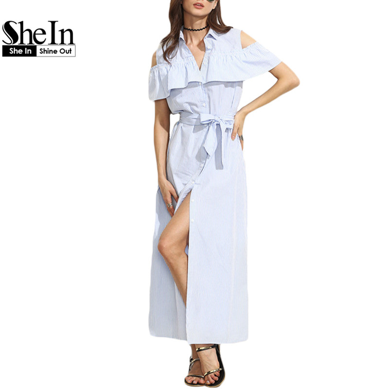 SheIn New Women Long Dresses Summer Ladies Blue Striped Lapel Short Sleeve Cold Shoulder Ruffle Tie Waist Maxi Dress(China (Mainland))