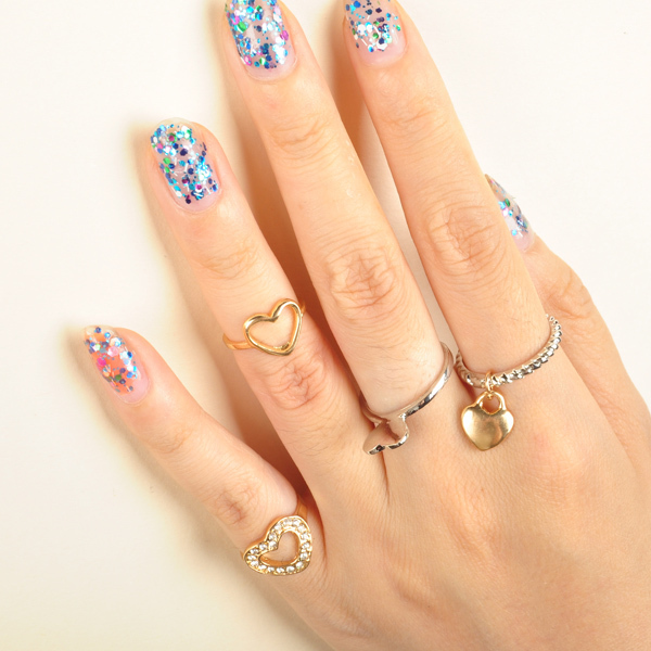 Artilady midi ring 4pcs stack rings  gold plating love heart deisgn ring with crystal jewelry