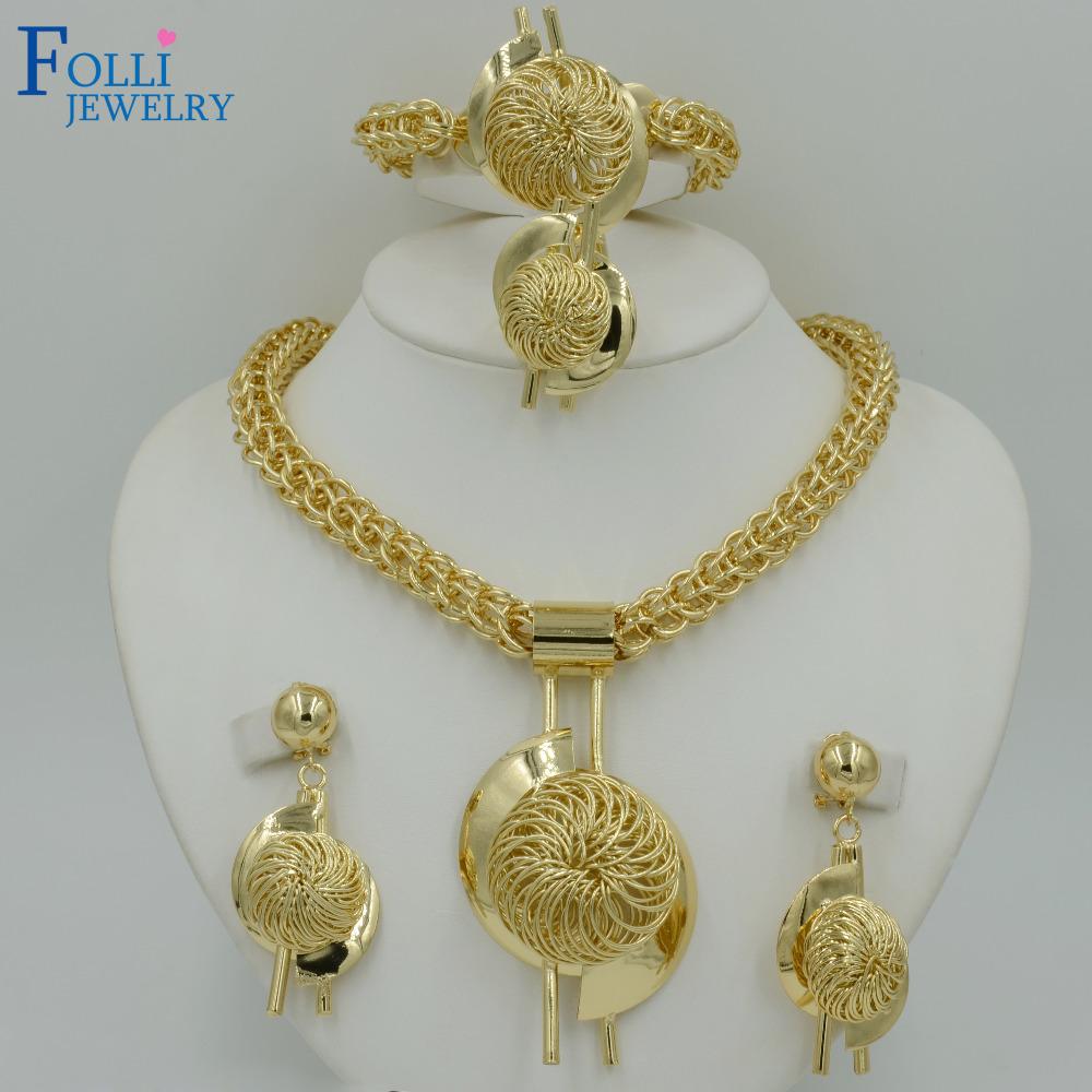 Bridal Gift Nigerian Wedding African Beads Jewelry Set Fashion Dubai 14K Gold Plated Jewelry Set Costume Design Big Necklace(China (Mainland))