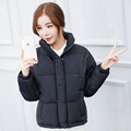2016 New Cute Quilted Jacket Fur Hooded Parka Coat Short Covered Button Outerwear 6 Color Overcoat Warm Women Topcoat YY65