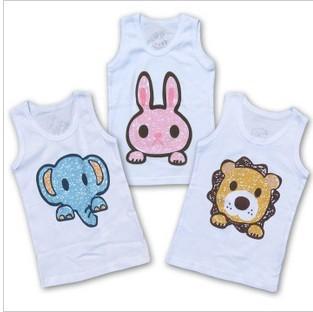 Lovely cartoon baby cotton T-Shirt boys girls short t shirt kids Tees infant vest 80 90 100cm Rabbit/Lion/elephant 3 styles(China (Mainland))