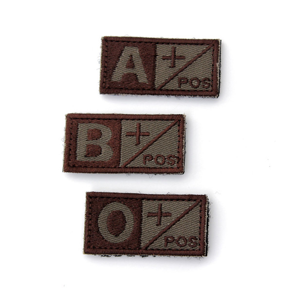 New Arrival Hot Sale Woodland Olive Green Black Military Blood Type A/B/O Positive Velcro Hook Patch(China (Mainland))