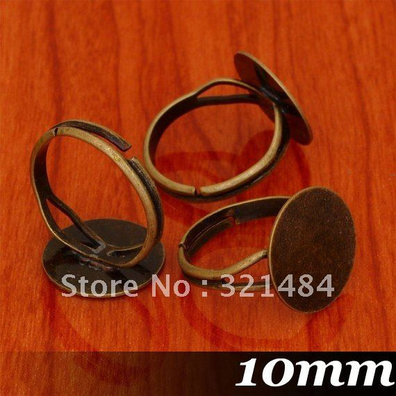 Antique bronze 200pcs 10mm Round Flat Glue Pad Jewelry DIY findings - Ring Base ~ Ring Blanks ~ Ring Bezel ~ Ring Trays<br><br>Aliexpress