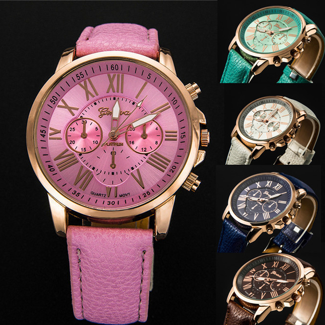 New Style Geneva Women Watches Top selling Fashion Popular Quartz Watch Casual Leather PU Female Girl Lady Round Dial Wristwatch(China (Mainland))