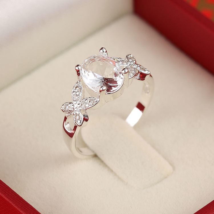2015 Brand New Arrival White Butterfly AAA Zircon 925 Sterling Silver White Women Rings New Design Top Quality(China (Mainland))
