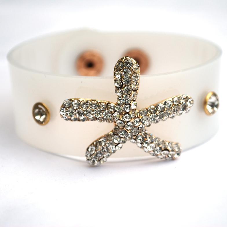 HOT!The New Arrival Women/Girls Golden Tone White Starfish Shape Superior Rhinestone Crystal Translucent Bracelet JEWERLY(China (Mainland))