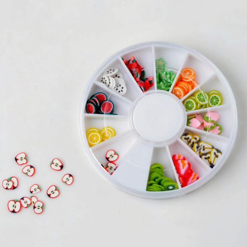 1 x Box Of Nail Tips 12 fruit styles Polymer clay nail art piece 6 cm Wheel Nail Art Decoration Random Color(China (Mainland))