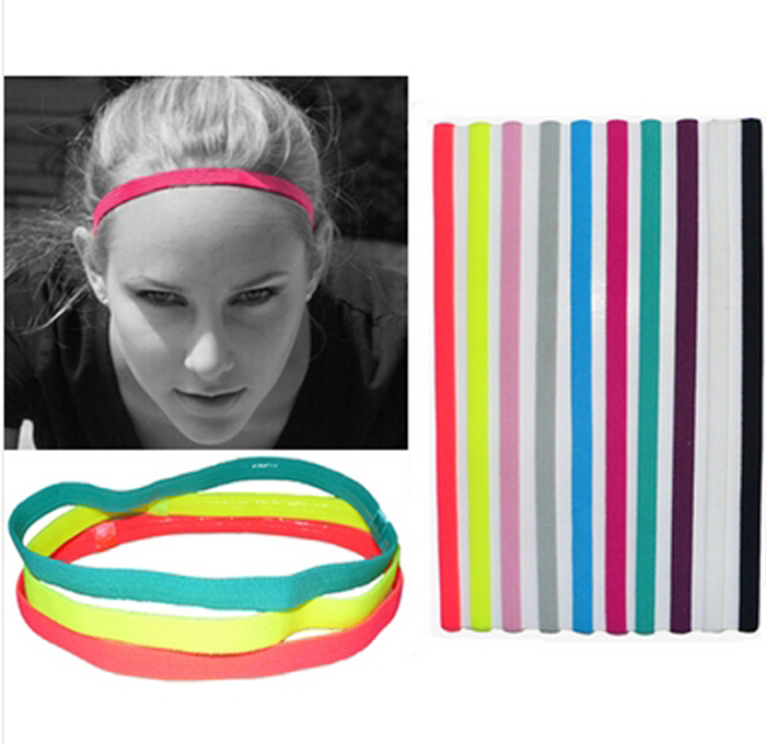 Summer Style Sports Elastic Headband Softball Soccer Yoga Hair Band Rubber Anti-Slip Women Hair Accessories Bandage Scrunchy(China (Mainland))