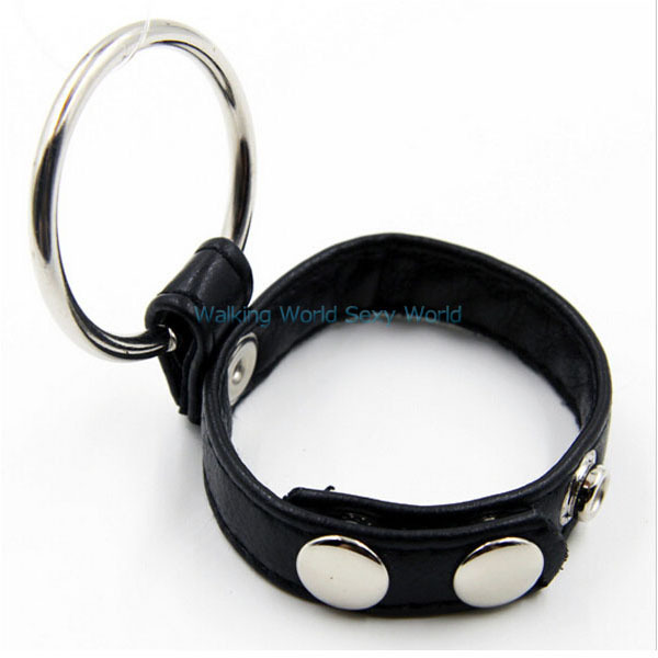 Leather Metal Scrotum Penis Ring Cock Dick Ball Ring CBT Sex Toy Delay Ring Penis Restraints Sex Products For Couple Adult Game(China (Mainland))