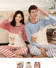 2015 new arrival lovely bear striped loungewear full sleeved adult comfy man's pajamas homewear #WV03(China (Mainland))