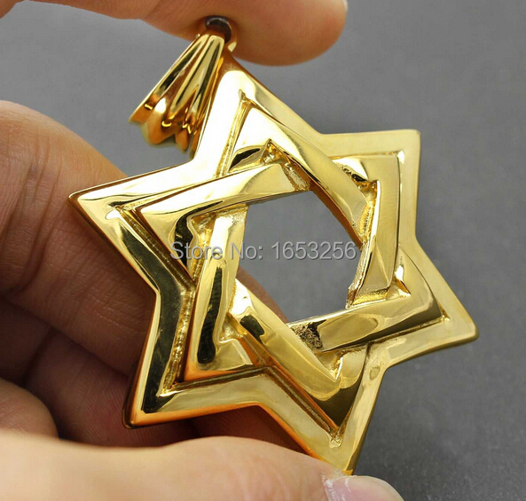 Best XMAS Gift for friend Huge Jewish Star of David Gold Stainless Steel Men's Pendant Judaica Israel no chain(China (Mainland))