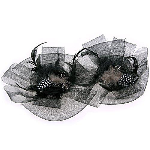 FGGS Black Flower Feather Organza Mesh Hair Clip Fascinator Wedding(China (Mainland))