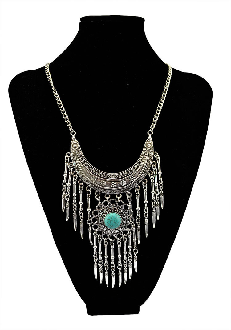 fashion bohemia crescent tassel necklace turquoise jewelry