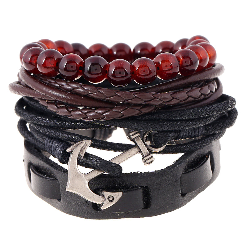 1 Set 4Pcs Charms Leather Bracelets Handmade Beads Bracelet Male Jesus Anchor Braclet Women Braslet Man Pulseras Mujer 2017