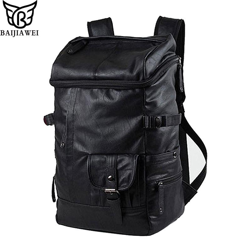 BAIJIAWEI Oil Wax PU Leather Man Backpack Brand Travel Bag Business Laptop Men Bag Casual Large Men Shoulder Duffel Bags