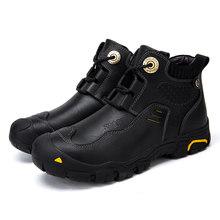 Cunge Nam Thương Hiệu đi bộ đường dài giày Mùa Đông Siêu Ấm giày Da Chống Thấm Nước Ủng Giải Trí Retro Giày cho nam handmade Da Bò(China)