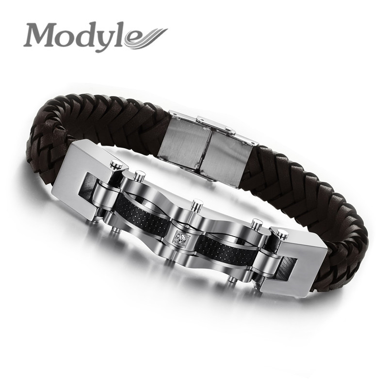 Pulseira New Fashion Jewelry Personality Weave Artificial Genuine Leather Stainless Steel Bracelets For Men Hot Sale(China (Mainland))