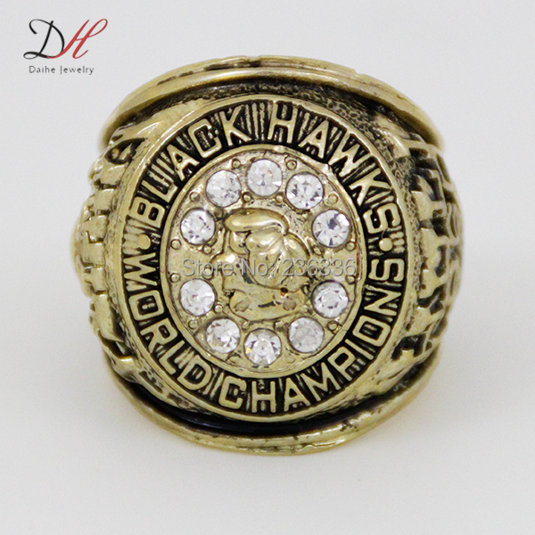 CR-20469 Fashion 1961 Chicago Black hawks Stanley Cup Championship Ring Gold Replica Hockey Ring,Men Customize jewelry(China (Mainland))
