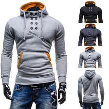 Men's Winter Pullover Stand Collar Hoodie Sweatshirt Coat Warm Long Sleeve