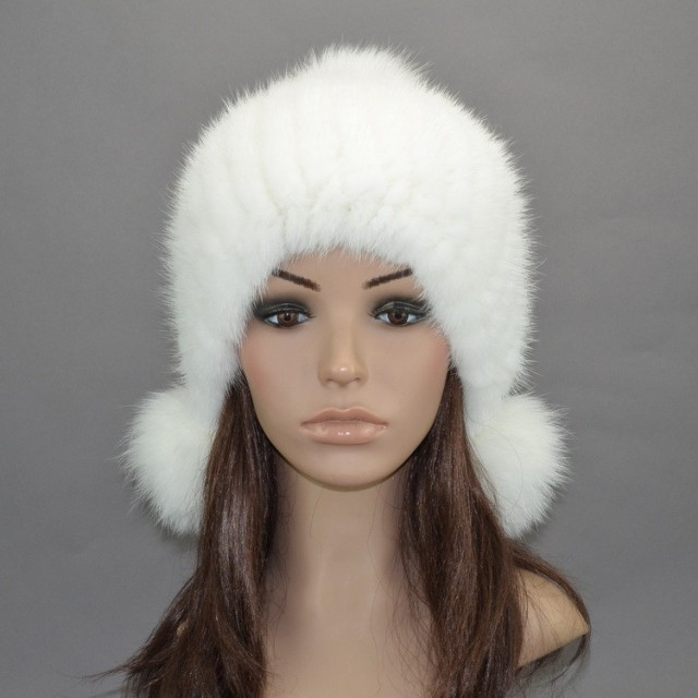 Real mink fur hat autumn winter black/white/gray ladies knitted ear protector natural fur cap with pom furs mink and fox H919(China (Mainland))