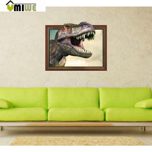 Umiwe High Definition Fashion 3D Dinosaur Head Wall Stickers(China (Mainland))