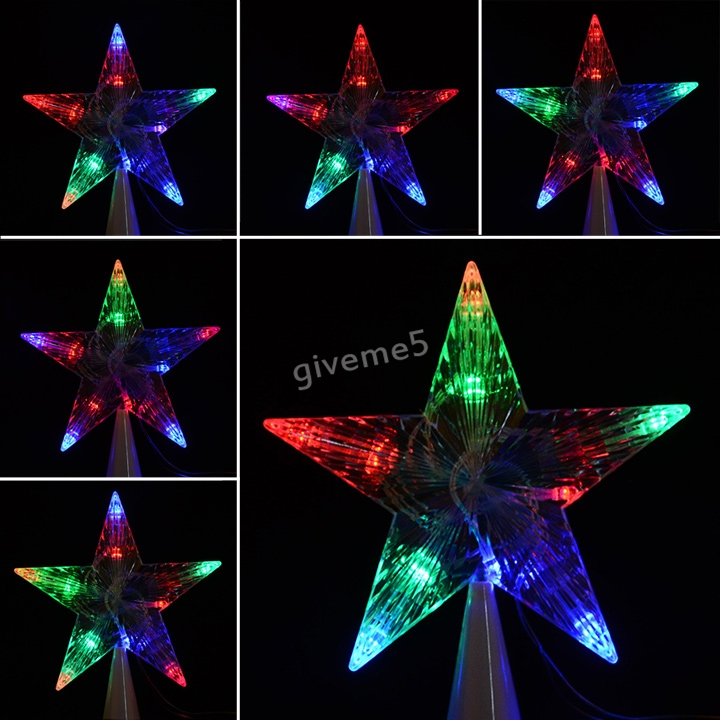 NEW LED Indoor Outdoor Christmas Tree Topper Star Lights Lamp Xmas Decoration Lighting 100-240V/EU 3F(China (Mainland))
