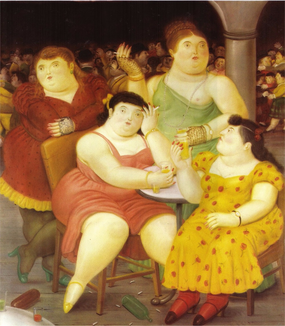 Abstract Modern Painting,Four Women, artwork by fernando botero Oil painting Canvas,Home Decor,High quality,Hand-painted(China (Mainland))