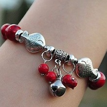 Sweet Red Coral Beads Tibetan Silver Carved Fishes Cute Jingly Bell Vintage Rhyme Charming Luck-Bringing Bracelet Ethnic Jewelry(China (Mainland))
