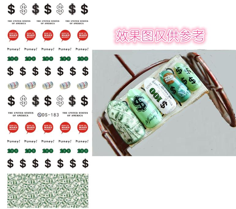 DS183 DIY Nail Design Water Transfer Nails Art Sticker Cute US Dollars Money Nail Wraps Sticker Watermark Fingernails Decals(China (Mainland))