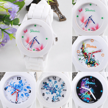 New hotNewest Women s Geneva Flowers Printed White Silicone Band Analog Quartz Wrist Watch 4JUL