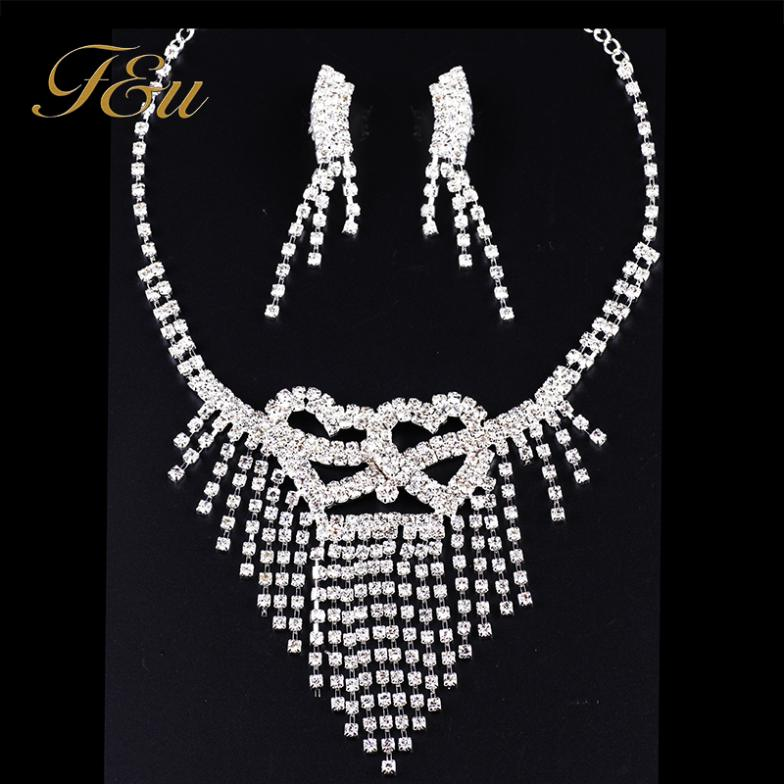 Simple Teardrop Rhinestone Crystal Bridal Wedding Jewelry Sets heart Jewelry Set including Choker Necklace and Earrings #S026(China (Mainland))