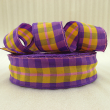 25Y42283 1″(25mm) yellow plaid scotish ribbon printed polyester ribbon 25 yards, DIY handmade materials, wedding gift wrap