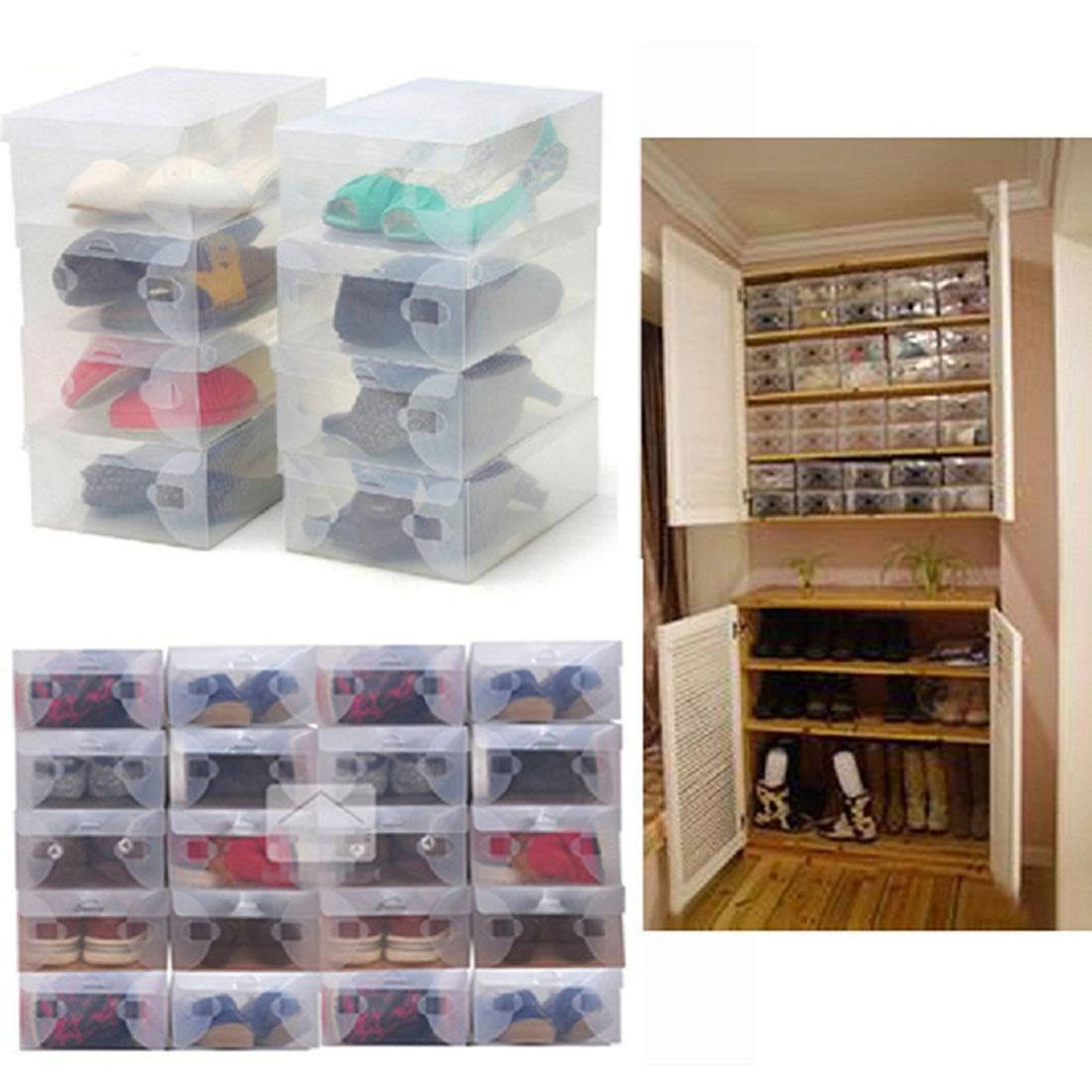 Hot Sale 10Pcs Transparent Clear Plastic Shoes Storage Boxes Foldable Shoes Case Holder(China (Mainland))