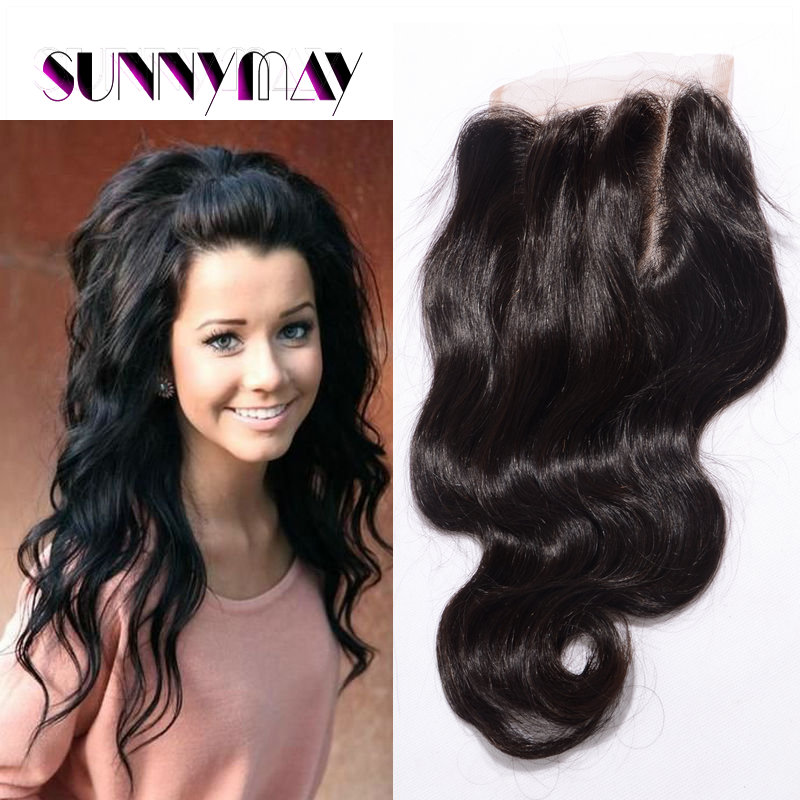 Sunnymay Hair Chinese Body Wave Lace Closure 3Part Body Wave Closure 5*5 Chinese Virgin Hair Lace Closure With Bleached Knots(China (Mainland))