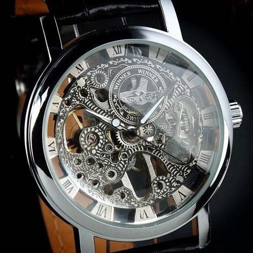2015 Relogio Male Luxury Brand Winner Hand-winding Leather Band Waterproof Skeleton Mechanical Wrist Watch For Men reloj hombre(China (Mainland))
