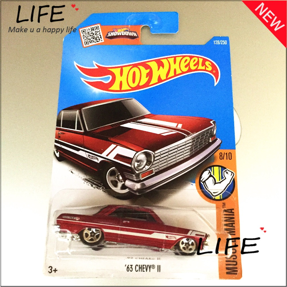 2016 Free Shipping Hot Wheels 63th chevy II Car Models Metal Diecast Cars Collection Kids Toys Vehicle For Children Juguetes(China (Mainland))