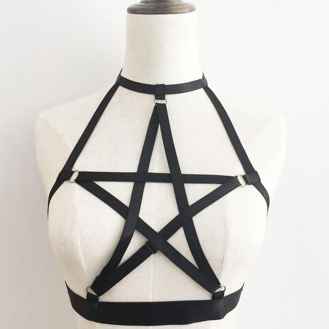Женщины новый Pentagram жгут тело жгут бюстгальтер Harajuku Готический сексуальное ...