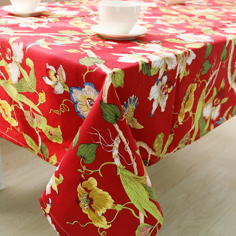1 Piece Creative All Cotton Printed Table Cloth/ Rural Adornment Tablecloth/ High Quality Tea Table Cloth Free Shipping(China (Mainland))