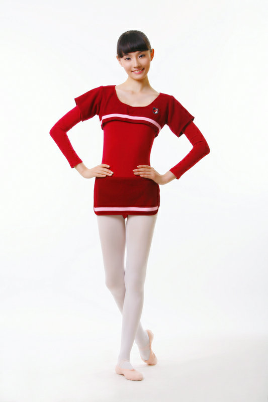 in flagship store short sleeved sweater long sleeve dance sports gymnastics wear two piece suit special spell wool skirt(China (Mainland))