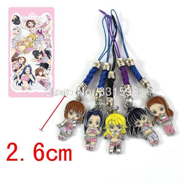 THE IDOLM@STER Metal Figure Pendants Phonestarps Anime Phone Rope 5pcs/set Free Shipping(China (Mainland))