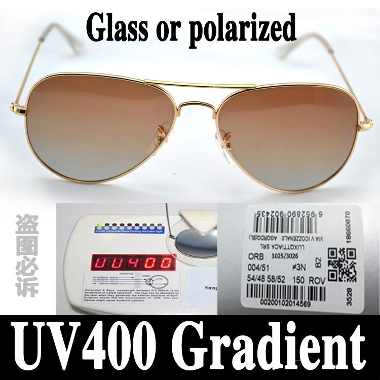 resin polarized or glass Gradient lens aviator new 3025 sunglasses men Vacation women color ray 3026 sun glasses uv 400 eyewear(China (Mainland))