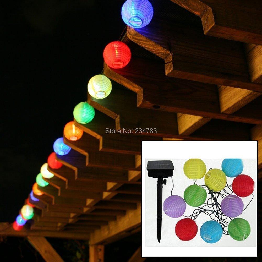 10 Led Lantern Ball Solar Outdoor String Light,Multi Color Globe String Light Decorative for ...