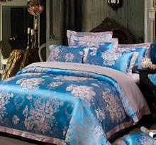 Cotton satin jacquard denim wedding gifted Kasi upscale bedding four sets(China (Mainland))