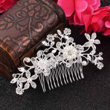 Bridal Flower Crystal Rhinestones Pearls Hair Clip Comb