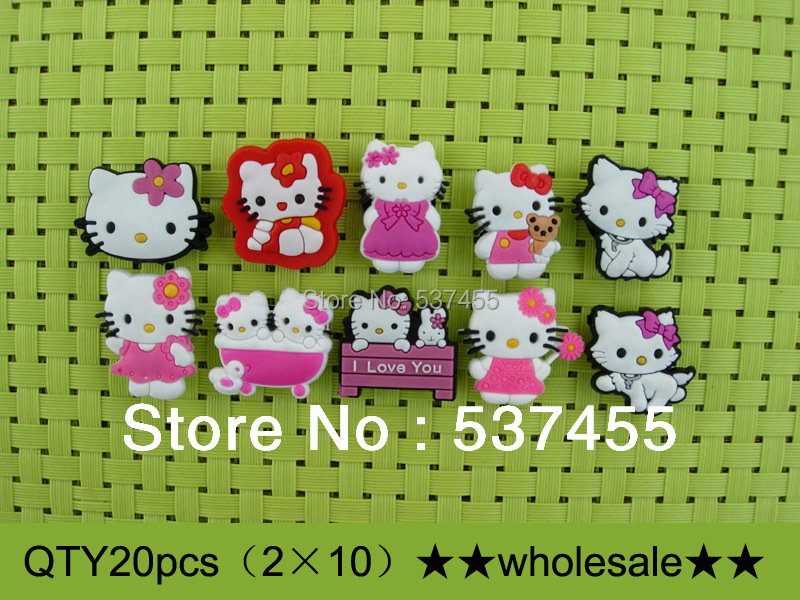 20pcs hello kitty shoe charms for kids' shoes/ shoe accessories/shoe decoration(China (Mainland))