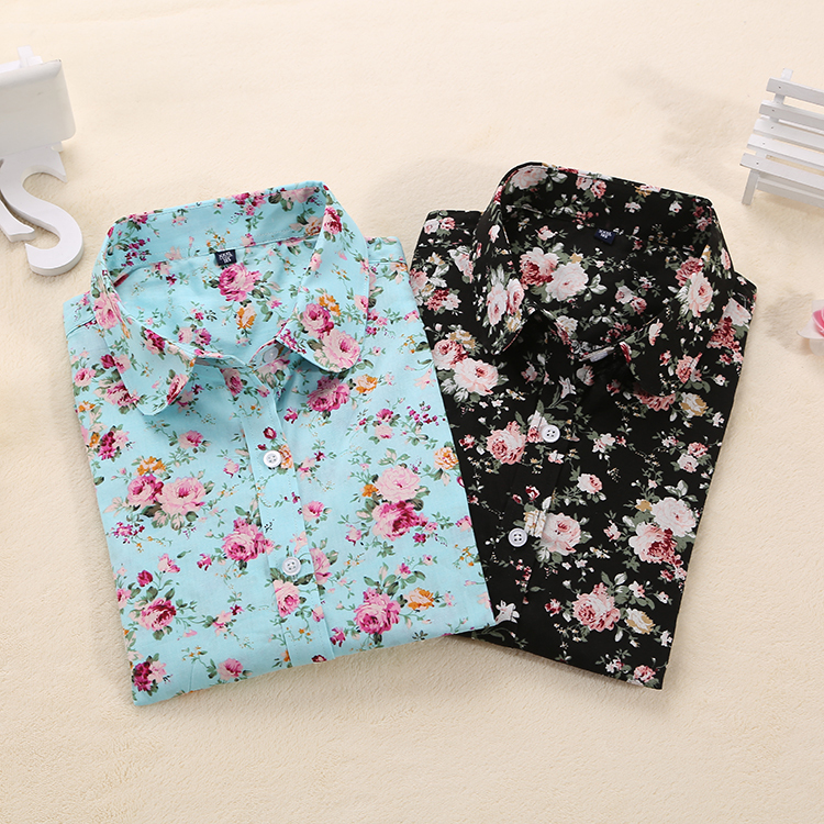 Brand New Women Blouses Turn Down Collar Floral Blouse Long Sleeve Shirt Women Camisas Femininas Ladies Summer Tops 2015(China (Mainland))